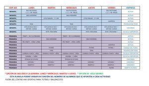 Listado provisional de actividades extraescolares para el curso 2016-17